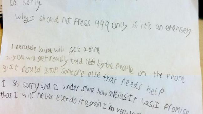 Child writes apology to ambulance service for hoax 999 calls - BT