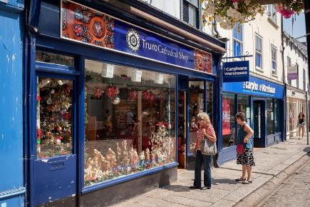 The Christmas themed Truro Cathedral Shop opened amid record summer temperatures