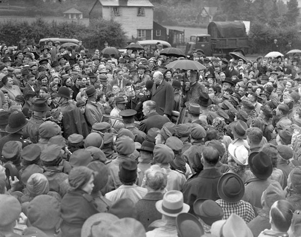 Conservative candidate Winston Churchill campaigning with his wife Clementine in his constituency of Woodford.