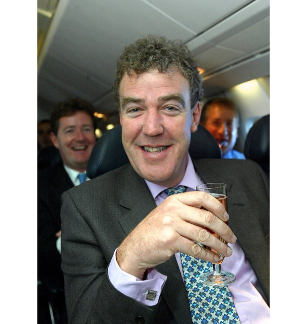 Jeremy Clarkson and Piers Morgan toast Concorde's final commercial flight from JFK to Heathrow.