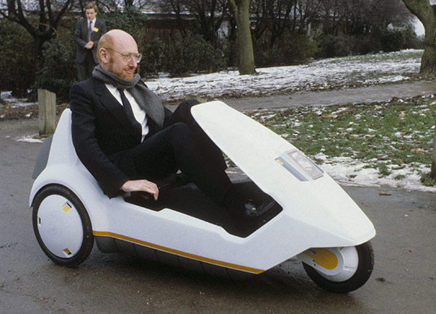 Clive Sinclair drives a C5