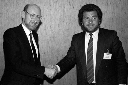 Clive Sinclair and Alan Sugar when Sugar bought Spectrum
