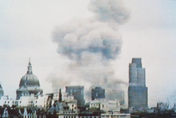 The bomb exploded in the heart of the City of London (Photo credit: ITN).