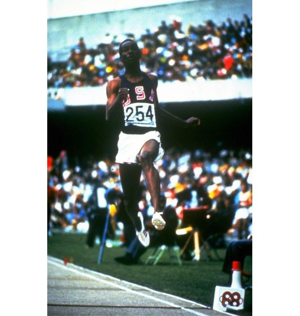 Bob Beamon makes his record-breaking jump.