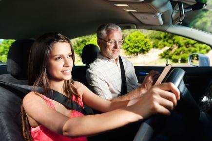Confident learner takes driving test 2014 stock image