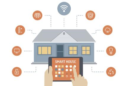Connected Home graphic with hand holding tablet