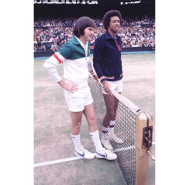 Jimmy Connors and Arthur Ashe before their final. Ashe wore the US Davis Cup tracksuit - Connors had opted not to join the team.