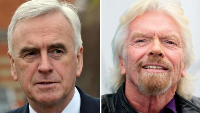 John McDonnell called Sir Richard Branson a 'tax exile who thinks he can try and intervene and undermine our democracy'