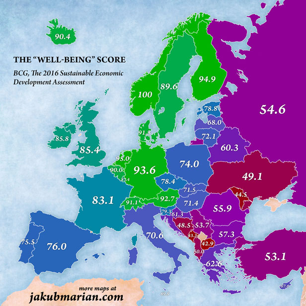 Map shows \'best\' European countries to live in: Where does the UK ...