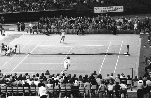 Billie Jean King and Bobby Riggs in their $100,000 Battle of the Sexes.