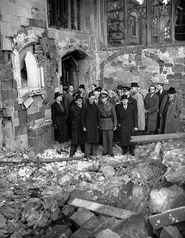 King George VI visits the ruins of the cathedral