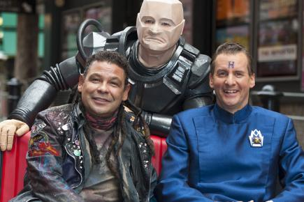 Craig Charles, Robert Llewellyn and Chris Barrie as their Red Dwarf characters