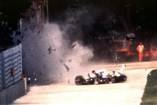 Ayrton Senna's Williams car hits the wall at Tamburello.