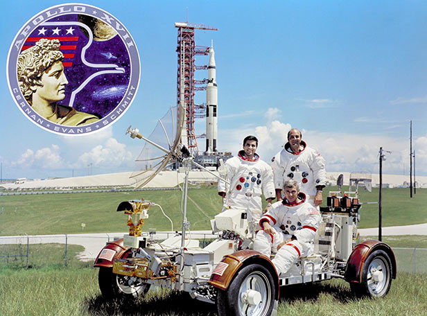 Apollo 17 crew Harrison Schmitt, Ron Evans and Eugene Cernan