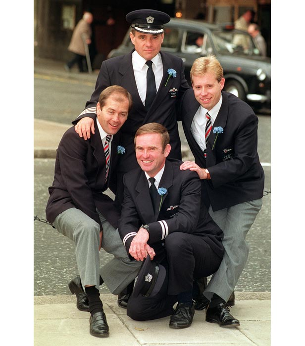 Four members of the crew of BA5390. Clockwise from top, Captain Tim Lancaster, flight attendant Simon Rogers, co-pilot Alistair Atchison and chief steward John Heward.