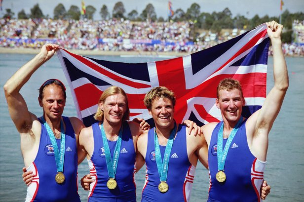 Redgrave, Tim Foster, James Cracknell and Matthew Pinsent celebrate their gold medal win in Sydney in 2000.