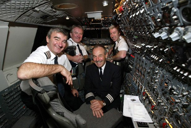 Flight crew Engineering Officer David Hoyle, Captain Mike Bannister, Engineering Officer Robert Woodcock and Captain Jonathan Napier prepare for take off from JFK to Heathrow.