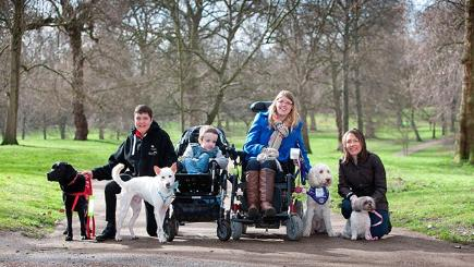 Eukanuba Friends for Life 2015 finalists (L-R): Pal the Labrador and owner Claire Pearson, Miracle the crossbreed and six year old Kyle Leask, Katy Evans and her crossbreed Folly, and Lhasa Apso Ellie May with owner Julie Cashell