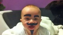 Dad gives baby a false moustache after mum leaves him unsupervised