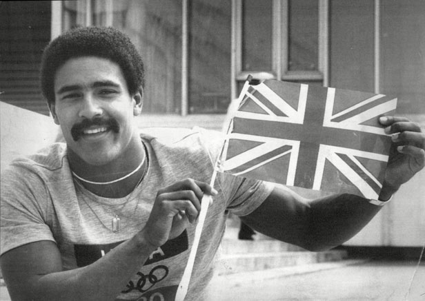 Daley Thomson displays the rare sight of a Union flag in Moscow after winning gold for Britain.