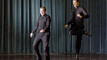 Father David Rider and father John Gibson dance at the Pontifical North American College in Rome, Italy (AP)