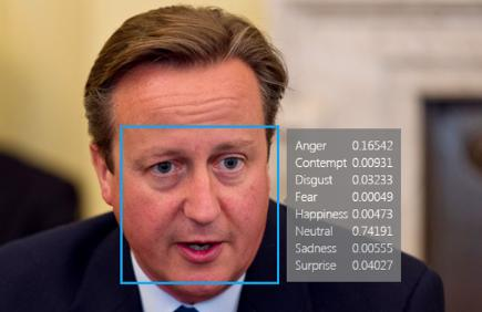 David Cameron with Microsoft Facial recognition result