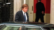 David Mellor leaves No.10 after resigning from John Major's cabinet.