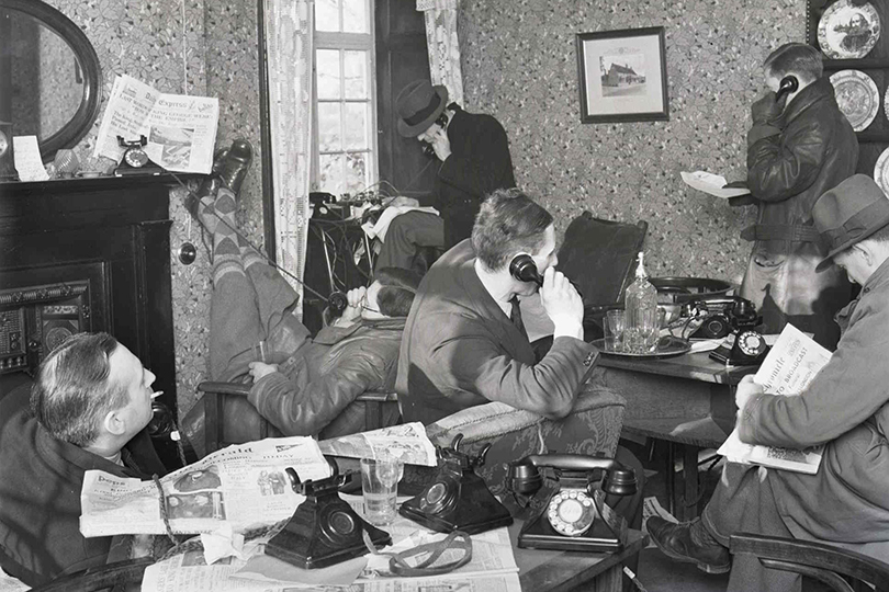 Death of George V, temporary press room in a pub near Sandringham. 1936.