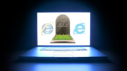 Computer with gravestone and IE logos