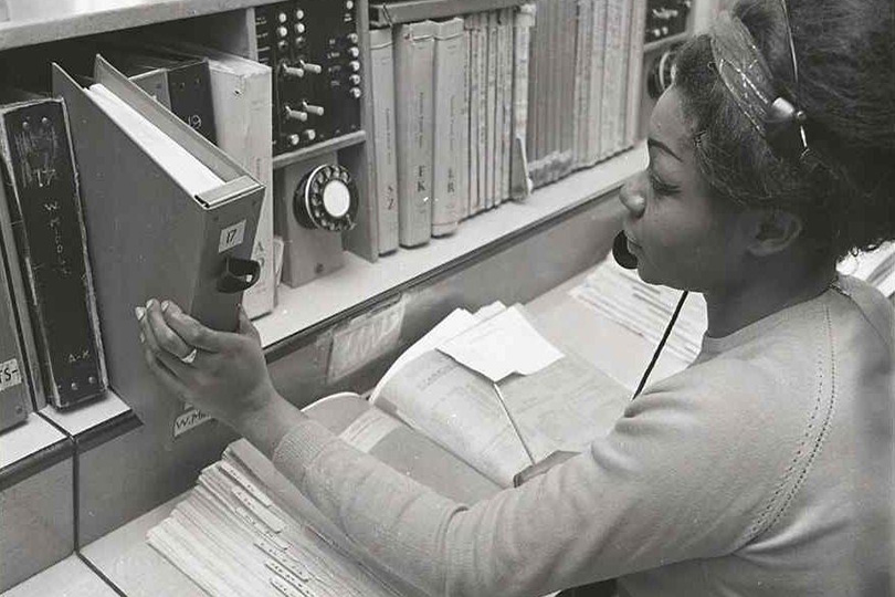 Directory Enquiries operator, Putney Telephone Exchange. 1969.