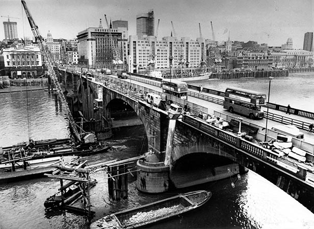 London Bridge being dismantled