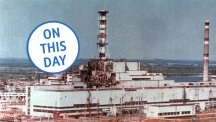 The Chernobyl nuclear power reactor in Chernobyl, Ukraine, showing damage from an explosion and fire