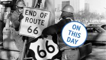 Workmen in Los Angeles remove the Route 66 signs in 1977