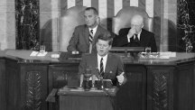 President John F Kennedy delivers his speech to Congress.