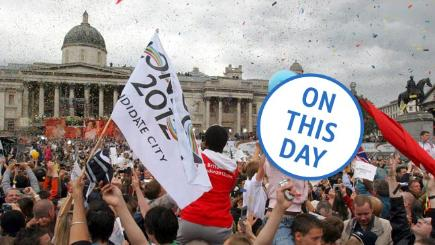 Crowds in Trafalgar Square celebrate as London is announced as the host of the 2012 Olympic Games.