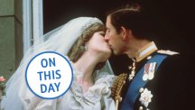 The newly-wed Prince and Princess of Wales share a kiss on the balcony of Buckingham Palace.