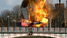 A double decker bus explodes in the heart of London but it all for the sake of cinematic art