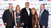 (left to right) Julian Fellowes, Laura Carmichael, Jim Carter, Lesley Nicol and Gareth Neame attending an exclusive charity screening of Downton Abbey at the Empire cinema in London.
