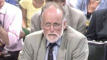 Dr David Kelly giving evidence to the Commons Foreign Affairs select committee just three days before he went missing.