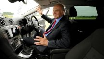 Business Secretary Vince Cable in a driverless car as they are set to be tested on public roads