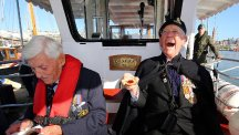 Dunkirk veterans Michael Bentall, 94, left, and Garth Wright, 95, on board the Princess Freda as the Little Ships leave Ramsgate Harbour to set sail for Dunkirk for the 75th anniversary of Operation Dynamo. (PA)