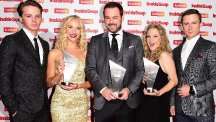 Sam Strike, Maddy Hill, Danny Dyer, Kellie Bright and Danny-Boy Hatchard attending the Inside Soap Awards at DSTRKT, London.