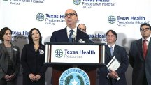 Dr Mark Lester speaks during a news conference at Texas Health Presbyterian Hospital, Dallas (AP)
