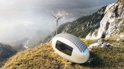 EcoCapsule caravan on cliff