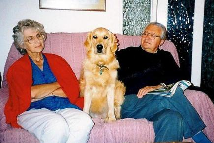 Eileen, husband Jimmy and dog, Saffy