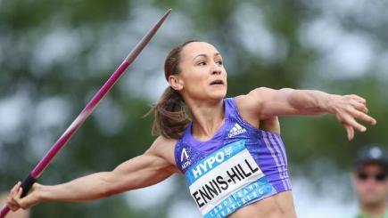 Heptathlete Jessica Ennis-Hill throwing a javelin.