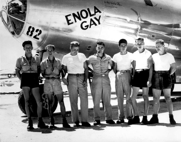 The crew of Enola Gay, the B-29 bomber which delivered the devastating payload.