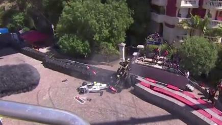 Cars in a pile-up at the Monaco Grand Prix