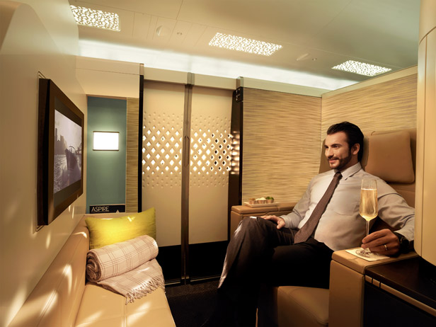 The living space in 'The Residence', the three-room first-class suit offered on Etihad Airways' A380s.