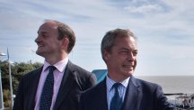 UKIP leader Nigel Farage accompanies former Tory MP for Clacton, Douglas Carswell on a walkabout in the Essex seaside town following his defection from the Conservative Party